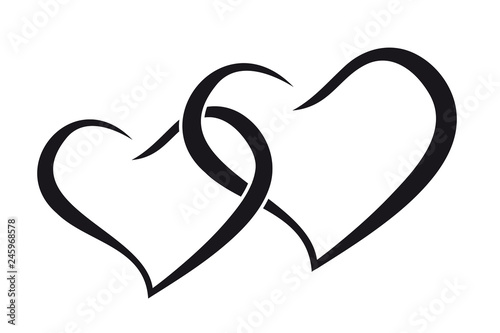 Fotografie, Obraz  Couple hearts love forever together black silhouette
