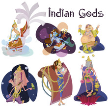Set Of Isolated Indian Gods Me...