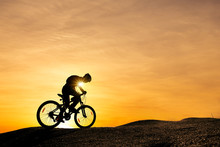 Extreme Mountain Bike Sport Athlete Man Riding Outdoors Lifestyle Trail.