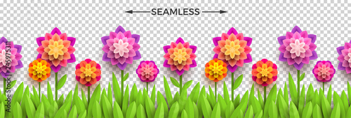 Fake paper flowers and grass on a checkered background. Horizontal seamless design. Vector illustration. Can be used on any background. - 245975311