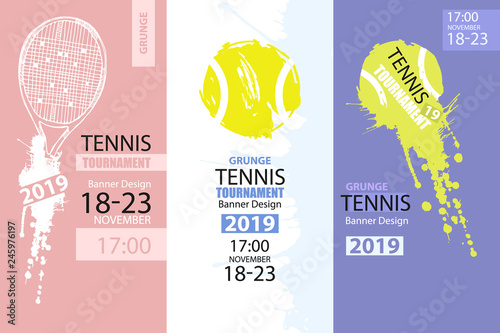 Fotografie, Obraz Set of color grunge designs of banners for tennis