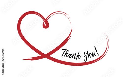 Thank You on hand drawn heart Fototapeta