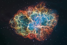 Crab Nebula In Constellation Taurus. Supernova Core Pulsar Neutron Star. .Elements Of This Image Are Furnished By NASA.