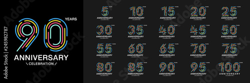 Fotomural Set of anniversary logotype