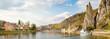 Leinwandbild Motiv Meuse river with Bayard rock, Dinant, Belgium