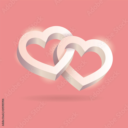 Fotografie, Obraz  Two hearts intertwined on pink background