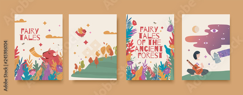 Set of illustrations for the book of fairy tales about the ancient forest.