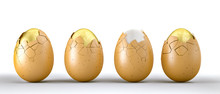 3d Rendering Of 3 Golden And One Natural Eggs