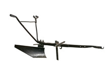 Vintage Horse Plow Isolated On White Background