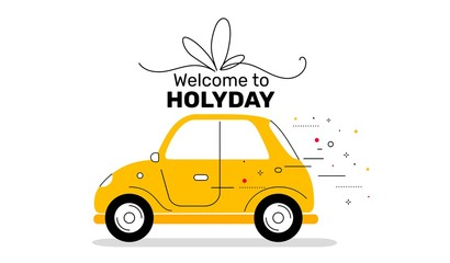 Vector creative holiday illustration of vintage yellow color car