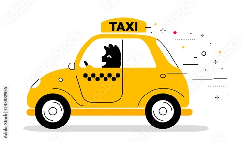 Vector creative illustration of yellow color taxi service car wi Canvas Print