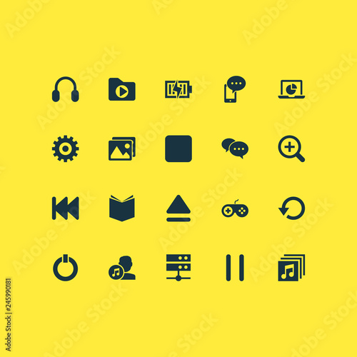 Fotografía  Multimedia icons set with stop, setting, charging and other media folder  elements