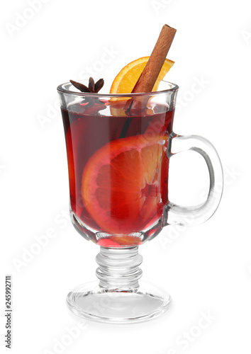 Fotobehang Cocktail Glass cup of mulled wine isolated on white