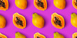 canvas print picture - Papaya fruit seamless pattern on purple background