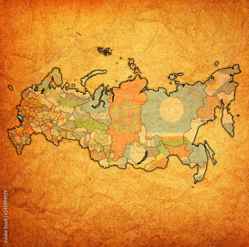 Belgorod Oblast on administration map of russia Canvas Print