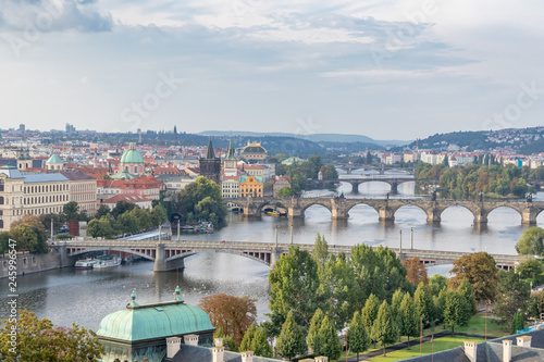Foto op Plexiglas Praag A view from a hill. The six bridges over the Vltava river in Prague, Czech Republic