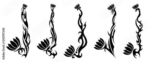 54b4e50cb Set of five black tribal pattern flower tattoos on white background ...