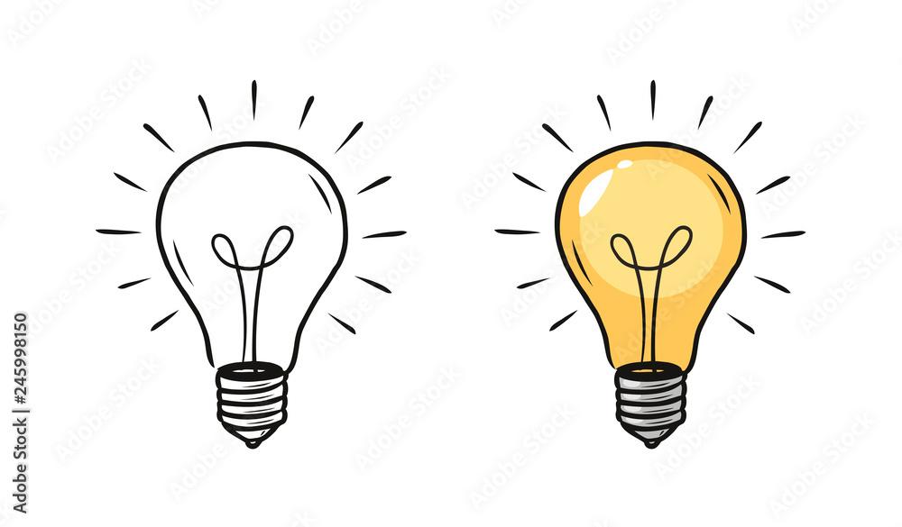 Fototapety, obrazy: Light bulb sketch. Electric light, energy concept. Hand drawn vector illustration