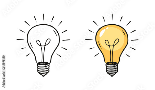 Obraz Light bulb sketch. Electric light, energy concept. Hand drawn vector illustration - fototapety do salonu