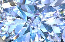 Realistic Diamond Texture Close Up. Blue Gem