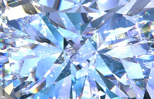 Realistic diamond texture close up. blue gem Wallpaper Mural