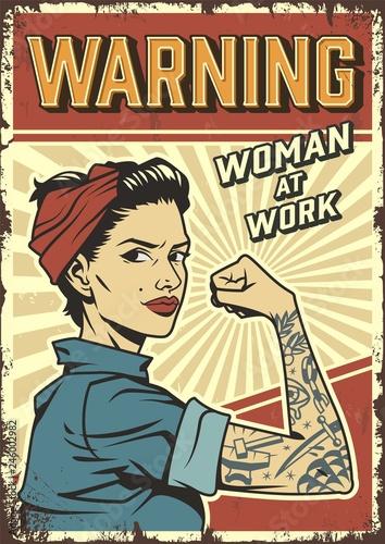Photo  Female power colorful retro poster
