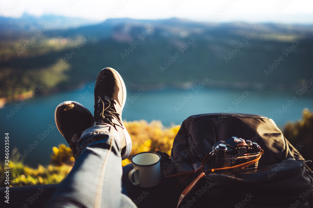 Fototapety, obrazy: view trekking feet tourist backpack photo camera in auto on background panoramic landscape mountain, vacation concept, foot photograph hiking relax in auto, photographer enjoy trip holiday, mockup