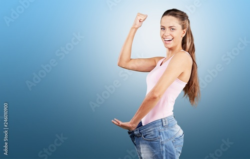 Fototapeta Weight Loss Woman, isolated on  background obraz