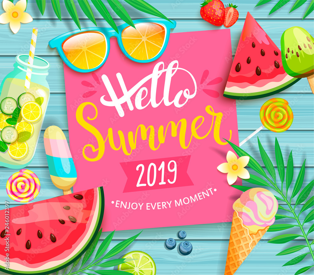 Fototapety, obrazy: Hello summer 2019 pink card or banner with handdrawn lettering on blue wooden background with watermelon, detox, ice, ice cream,sunglasses and candy, blueberry. Vector Illustration.