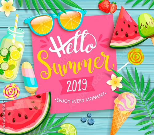 Hello summer 2019 pink card or banner with handdrawn lettering on blue wooden background with watermelon, detox, ice, ice cream,sunglasses and candy, blueberry. Vector Illustration. Wall mural