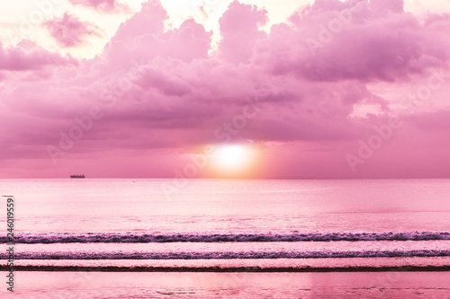 Colorful Tropical Sunset Sea With Sunset Beach View