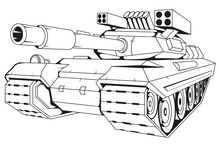 Battle Tank Vector Drawing, Battle Tank Drawing Sketch, Battle Tank In Black And White, Vector Graphics To Design