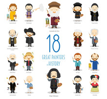 Kids Vector Characters Collection: Set Of 18 Great Painters Of History In Cartoon Style.