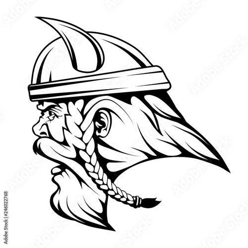Head Viking warrior in comb...
