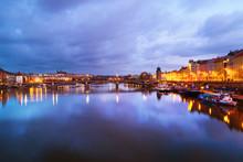 View Of Jiraskuv Bridge In Prague, Czech Republic In The Cloudy Morning
