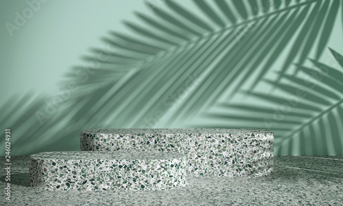 Cosmetic background for product presentation. green terrazzo geometry form podium on green terrazzo floor and mint green background with shadow of leaf. 3d rendering illustration.