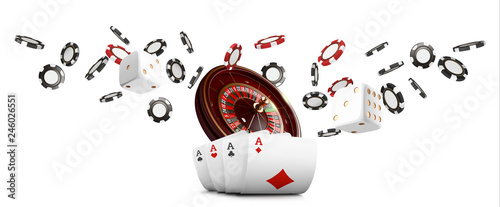 Photo  Playing cards and poker chips fly casino wide banner