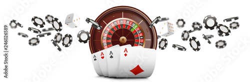 Foto Playing cards and poker chips fly casino wide banner