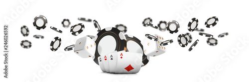 Fotografía Playing cards and poker chips fly casino wide banner