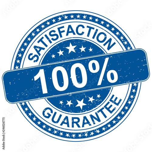 Cuadros en Lienzo satisfaction guarantee round blue rubber stamp grungy illustration