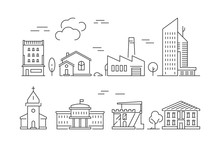 Urban Buildings Icon. Houses L...