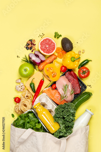 Fototapeta Grocery shopping concept - meat, fish, fruits and vegetables with shopping bag, top view obraz