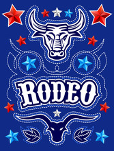 Rodeo Poster Elements, Bull, R...