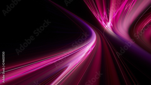 Photo sur Toile Fractal waves Abstract purple on black background texture. Dynamic curves ands blurs pattern. Detailed fractal graphics. Science and technology concept.