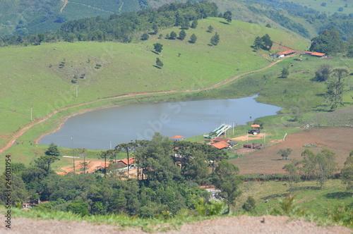 Fotobehang Olijf village in the mountains