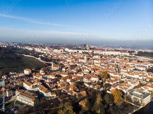 In de dag Ochtendgloren Aerial drone view Prague Castle and Saint Vitus Cathedral Panoramic view, Czech Republic. Vltava river