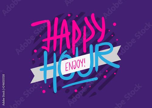 Fotografia Happy Hour Label Sign Logo Hand Drawn Brush Lettering Calligraphy Type Design Ve