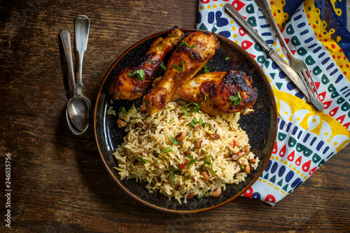 Barbecue Chicken Jollof Rice Fototapet