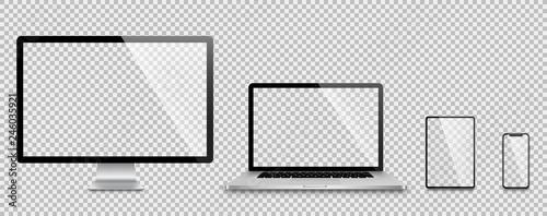 plakat Realistic set of Monitor, laptop, tablet, smartphone - Stock Vector.