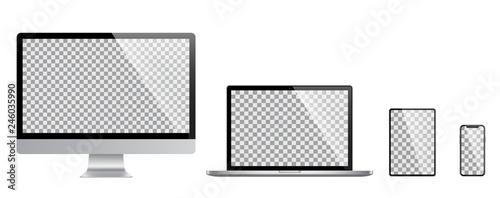 Fotografie, Obraz  Realistic set of Monitor, laptop, tablet, smartphone - Stock Vector